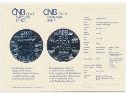 ČR, certifikát k Ag minci 500,-Kč, 2020, Ústava a ústavní soud ČSR