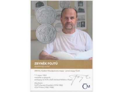 Fojtů Zbyněk(1963), Akademický sochař, sběratelská karta s podpisem