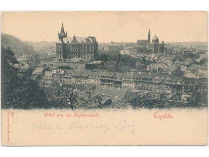 65 - Teplice, pohled na město ze Štěpánovy výšiny, cca 1918