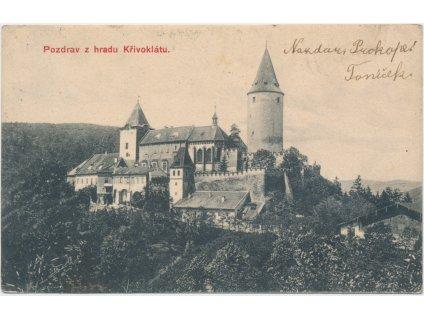 55 - Rakovnicko, hrad Křivoklát, celkový pohled, cca 1907