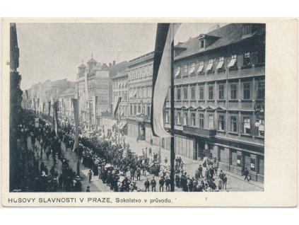 49 - Praha, Husovy slavnosti, Sokolstvo v průvodu, nákl. F. J. Jedličky
