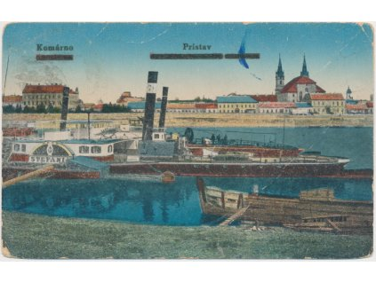 Slovensko, Komárno, partie z přístavu s pohledem na město, cca 1920