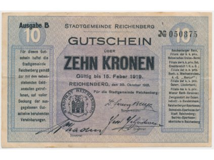 Liberec, 10 Korun, 1919, krásná oběhová jakost