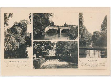 19 - Královéhradecko, Smiřice, 4 - záběr, splav, most, řeka...,cca 1933