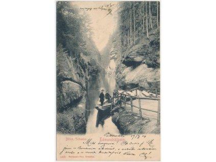 14 - Děčínsko, Hřensko, oživená partie u Edmundovy soutěsky, cca 1904