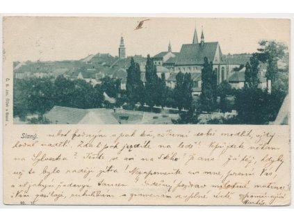 27 - Kladensko, Slaný, celkový pohled na město, nákl. J. Čížek, 1899