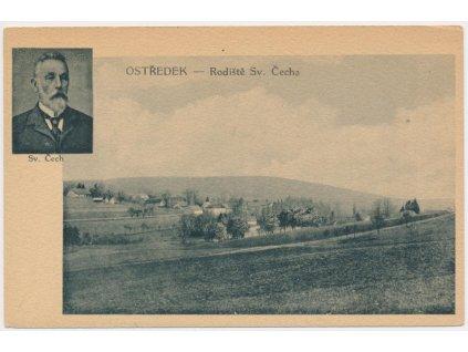 01 - Benešovsko, Ostředek, pohled na obec, rodiště Sv. Čecha, cca 1935