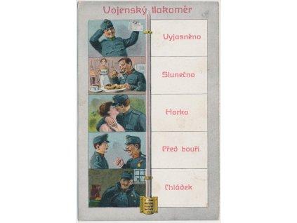 """Vojenská satirická pohlednice - """"Vojenský tlakoměr"""", cca 1918"""