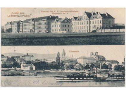 33 - Litoměřice, 2 - záběr, Kasárna a loď na Labi s výhledem na město