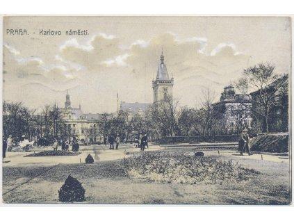 49 - Praha, oživené Karlovo náměstí, cca 1912