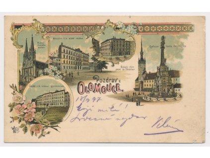 41 - Olomouc, 5 - ti záběrová koláž, radnice, kostel, škola...,ca 1897