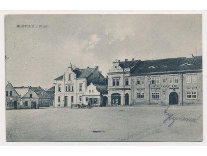 47 - Plzeňsko, Blovice, partie z náměstí, nákl. J. Keller, cca 1931
