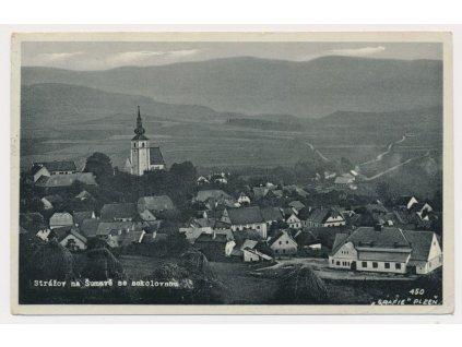 28 - Klatovsko, Strážov, pohled na město se sokolovnou, cca 1935