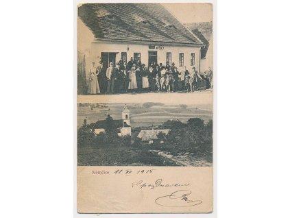 28 - Klatovsko, Němčice, 2-záběr, oživená partie před hostincem..., 1908
