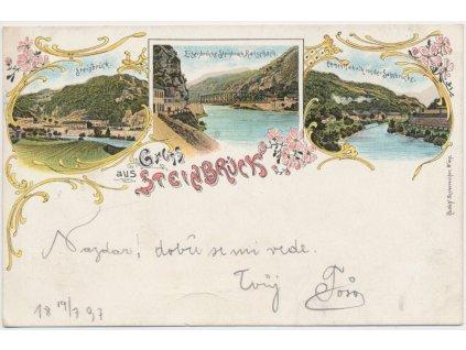 Rakousko, Steinbrück, 3 - záběrová koláž dominant města, cca 1897