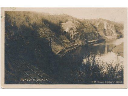 """01 - Benešovsko, Sázava, """"Tunely u Sázavy"""", cca 1925"""