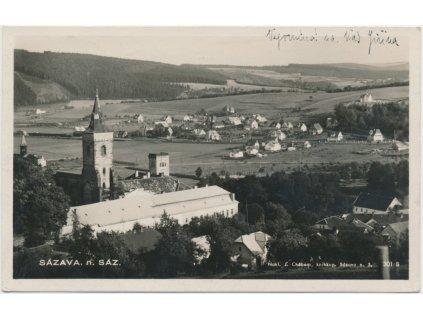 01 - Benešovsko, Sázava, pohled na klášter a část města, cca 1930