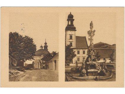05 - Brno - venkov, Lomnice, 2 - záběr, socha p. Marie a kaple sv. Antonína, 1938