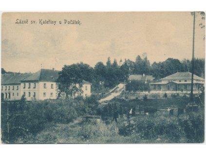 45 - Pelhřimovsko, Lázně sv. Kateřiny u Počátek, pohled na lázně, cca 1914
