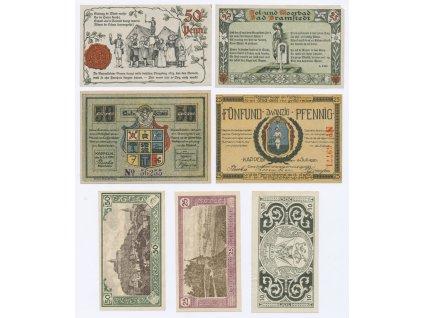 Německo, sestava 7-mi ks nouzových bankovek, 1921