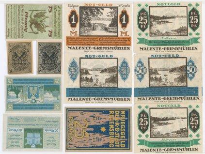 Německo, sestava 11-ti ks nouzových bankovek, 1921