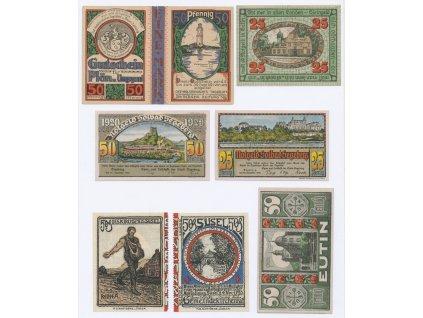 Německo, sestava 8-mi ks nouzových bankovek, 1921
