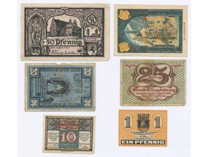 Německo, sestava 6-ti ks nouzových bankovek, 1921