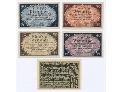 Německo, Usgerschleben, sestava 5-ti ks nouzových bankovek, 1921