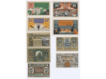 Německo, sestava 9-ti ks nouzových bankovek, 1921