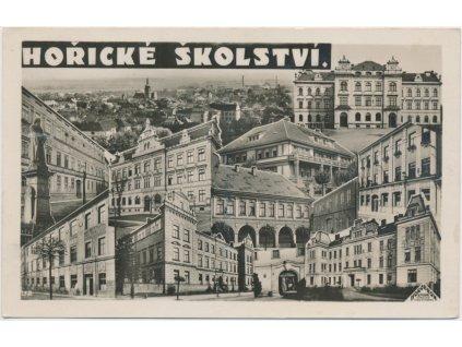 """22 - Jičínsko, Hořice, kolážová pohlednice """"Hořického školství"""", cca 1938"""