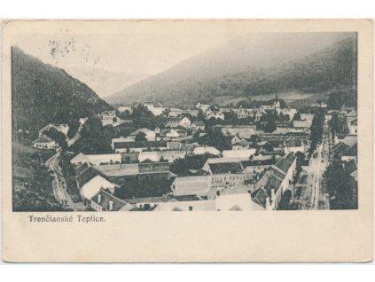 Slovensko, Trenčianské Teplice, celkový pohled na město, cca 1935