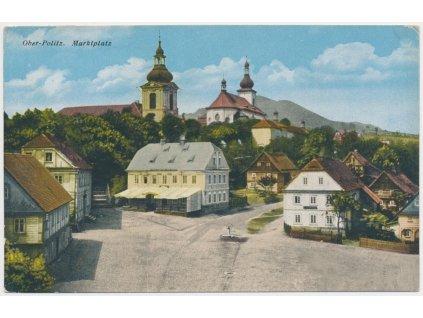 11 - Českolipsko, Horní Police, partie z návsi s kostelem a domy, 1923