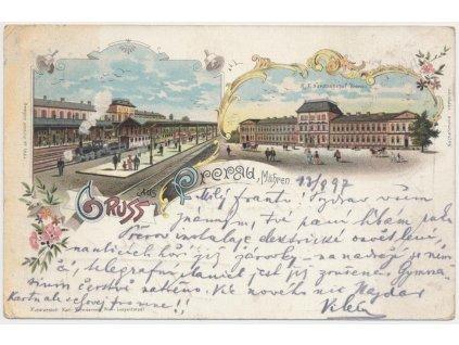 53 - Přerov, 2 - záběrová litografie vlakového nádraží, cca 1897