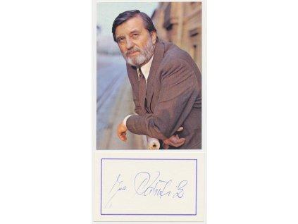 Pántik Július (1922-2002), slovenský herec, karta a kartička s podpisem