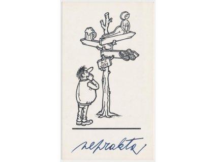 Winter Jiří / Neprakta (1924 - 2011), tištěná kresba s vlastn. podpisem