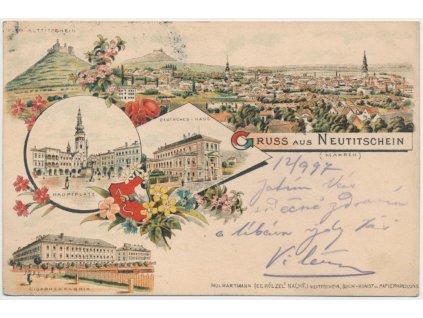 39 - Nový Jičín, 5 - ti záběrová litografie dominant města, cca 1897