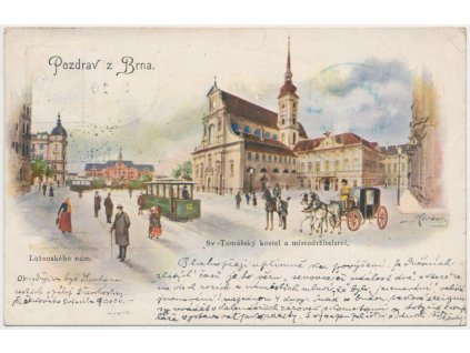 04 - Brno, oživené Lažanského náměstí, kočár s koněmi, tramvaj...,1906