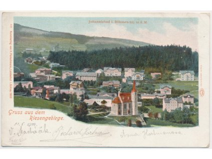 66 - Trutnovsko, Janské Lázně, Krkonoše, litografie, pohled na město