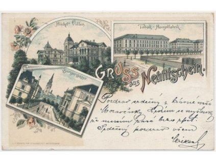 39 - Nový Jičín, 3 - záběrová litografie, tabáková továrna..., ca 1897