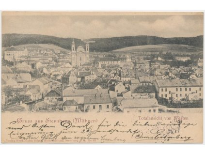 41 - Olomoucko, Šternberk, celkový pohled na město od západu, cca 1899
