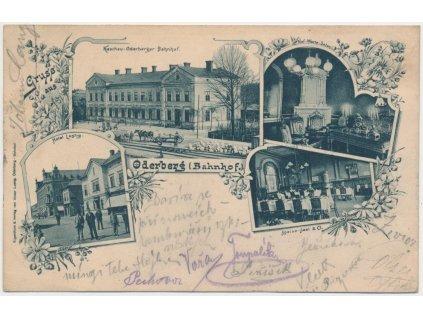 26 - Karvinsko, Bohumín, 4-záběrová koláž,nádraží, hotel Lustig..,1900