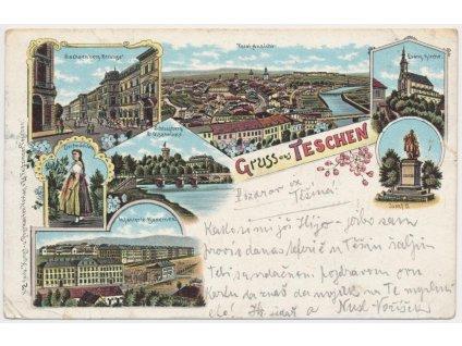 26 - Karvinsko, Český Těšín, 7 - mi záběrová koláž, kasárna.., ca 1900
