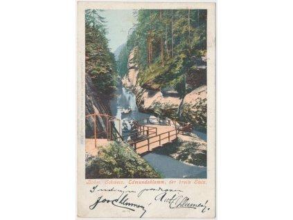 14 - Děčínsko, Hřensko, partie z Edmundovy soutěsky, cca 1902