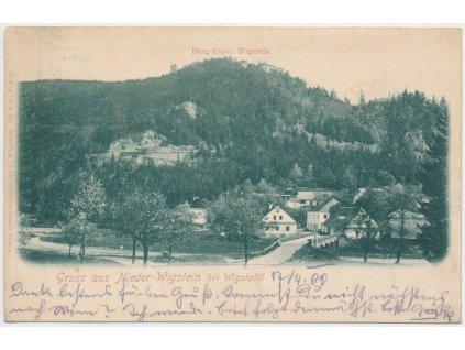 42 - Opava, Podhradí, pohled na vesnici pod hradem Vikštejn, cca 1900