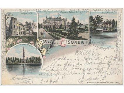 07 - Břeclavsko, Lednice, 4 - záběrová kolážová litografie, cca 1896