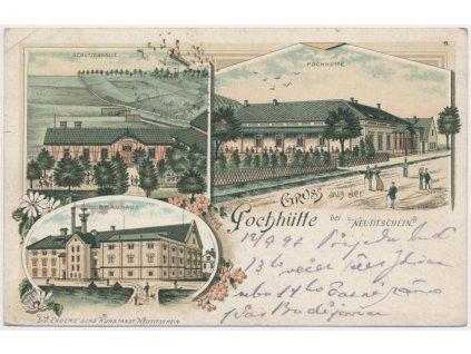 39 - Nový Jičín, 3 - záběrová litografie, Pivovar, Schützenhalle, 1899