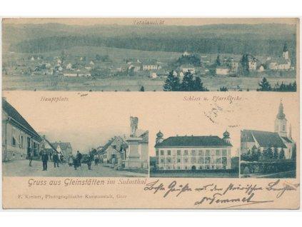 Rakousko, Gleinstätten, 4 - záběr dominant, oživené náměstí.., ca 1901