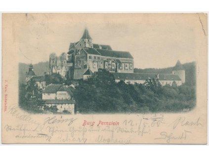 05 - Brno - venkov, Pernštejn, pohled na hrad, cca 1900