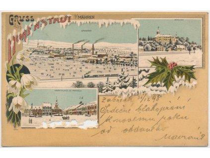 62 - Šumpersko, Zábřeh, 3 - záběrová kolážová litografie, cca 1898
