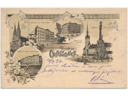 41 - Olomouc, 5 - ti záběrová kolážová litografie dominant města, 1897